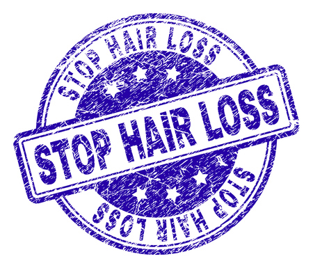 STOP HAIR LOSS stamp seal imprint with grunge texture. Designed with rounded rectangles and circles. Blue vector rubber print of STOP HAIR LOSS label with dust texture.