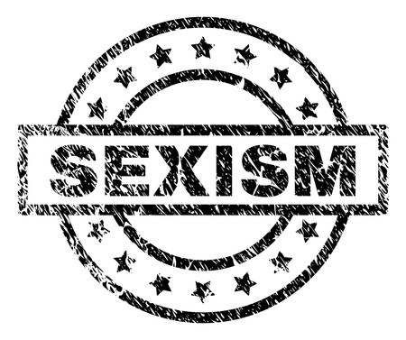 SEXISM stamp seal watermark with distress style. Designed with rectangle, circles and stars. Black vector rubber print of SEXISM caption with dirty texture.