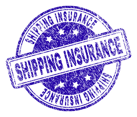 SHIPPING INSURANCE stamp seal watermark with grunge texture. Designed with rounded rectangles and circles. Blue vector rubber print of SHIPPING INSURANCE caption with grunge texture.