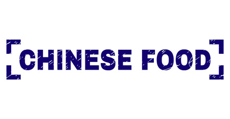 CHINESE FOOD text seal watermark with grunge effect. Text title is placed inside corners. Blue vector rubber print of CHINESE FOOD with grunge texture.