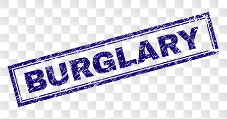 BURGLARY stamp seal print with rubber print style and double framed rectangle shape. Stamp is placed on a transparent background. Blue vector rubber print of BURGLARY caption with retro texture.