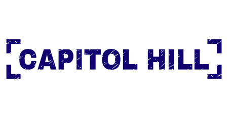 CAPITOL HILL tag seal print with grunge texture. Text tag is placed inside corners. Blue vector rubber print of CAPITOL HILL with dirty texture.