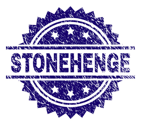 STONEHENGE stamp seal watermark with distress style. Blue vector rubber print of STONEHENGE label with retro texture. Illustration
