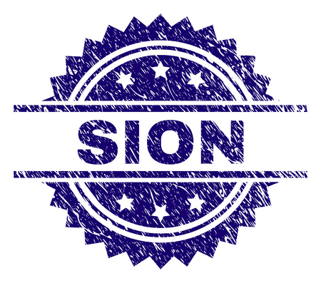 SION stamp seal watermark with distress style. Blue vector rubber print of SION tag with scratched texture.