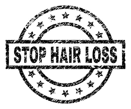 STOP HAIR LOSS stamp seal watermark with distress style. Designed with rectangle, circles and stars. Black vector rubber print of STOP HAIR LOSS caption with corroded texture.