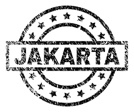 JAKARTA stamp seal watermark with distress style. Designed with rectangle, circles and stars. Black vector rubber print of JAKARTA caption with grunge texture. Illustration