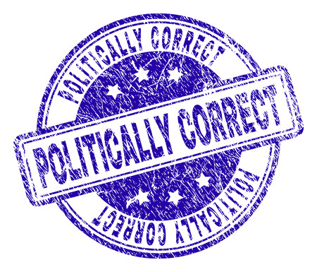 POLITICALLY CORRECT stamp seal watermark with grunge texture. Designed with rounded rectangles and circles. Blue vector rubber print of POLITICALLY CORRECT text with grunge texture.