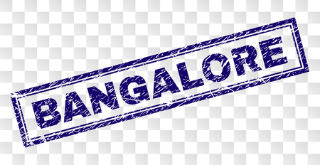 BANGALORE stamp seal print with rubber print style and double framed rectangle shape. Stamp is placed on a transparent background. Blue vector rubber print of BANGALORE caption with retro texture. Illustration