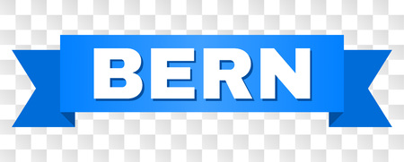 BERN text on a ribbon. Designed with white title and blue stripe. Vector banner with BERN tag on a transparent background.