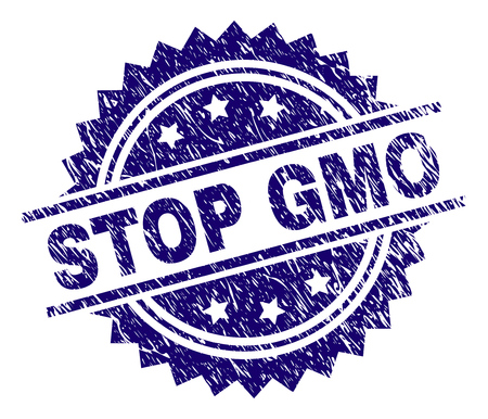 STOP GMO stamp seal watermark with distress style. Blue vector rubber print of STOP GMO label with retro texture.