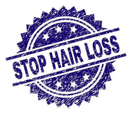 STOP HAIR LOSS stamp seal watermark with distress style. Blue vector rubber print of STOP HAIR LOSS tag with unclean texture.