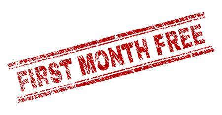 FIRST MONTH FREE seal imprint with corroded texture. Red vector rubber print of FIRST MONTH FREE text with retro texture. Text title is placed between double parallel lines.