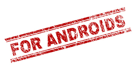 FOR ANDROIDS seal stamp with corroded texture. Red vector rubber print of FOR ANDROIDS tag with corroded texture. Text label is placed between double parallel lines.