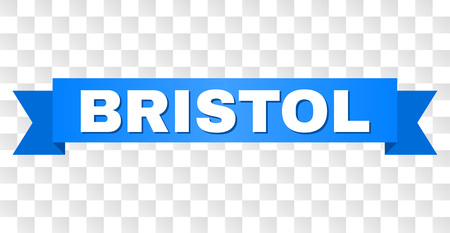 BRISTOL text on a ribbon. Designed with white title and blue stripe. Vector banner with BRISTOL tag on a transparent background.