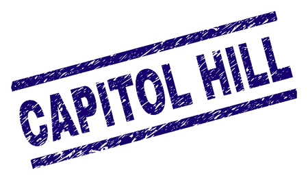 CAPITOL HILL seal imprint with scratced style. Blue vector rubber print of CAPITOL HILL text with scratched texture. Text title is placed between parallel lines.