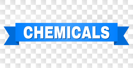 CHEMICALS text on a ribbon. Designed with white title and blue tape. Vector banner with CHEMICALS tag on a transparent background.