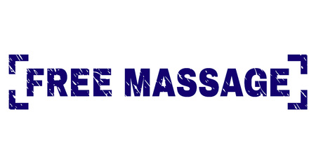 FREE MASSAGE caption seal print with corroded texture. Text label is placed between corners. Blue vector rubber print of FREE MASSAGE with grunge texture.