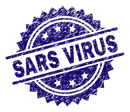 SARS VIRUS stamp seal watermark with distress style. Blue vector rubber print of SARS VIRUS caption with retro texture. Illustration