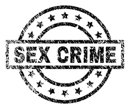 SEX CRIME stamp seal watermark with distress style. Designed with rectangle, circles and stars. Black vector rubber print of SEX CRIME tag with unclean texture. Illustration