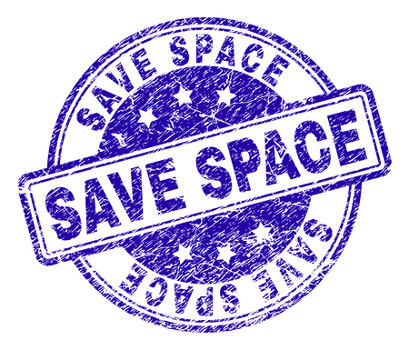 SAVE SPACE stamp seal watermark with distress texture. Designed with rounded rectangles and circles. Blue vector rubber print of SAVE SPACE label with unclean texture.