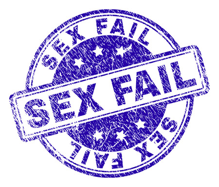 SEX FAIL stamp seal watermark with grunge texture. Designed with rounded rectangles and circles. Blue vector rubber print of SEX FAIL caption with grunge texture.