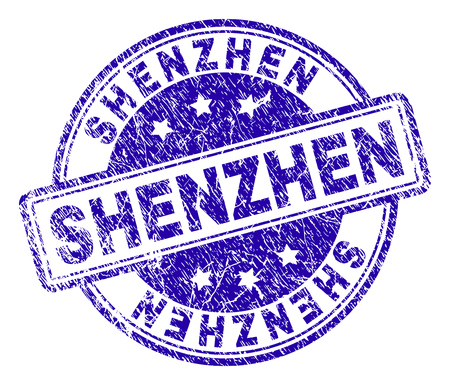 SHENZHEN stamp seal watermark with grunge style. Designed with rounded rectangles and circles. Blue vector rubber print of SHENZHEN text with grunge texture.