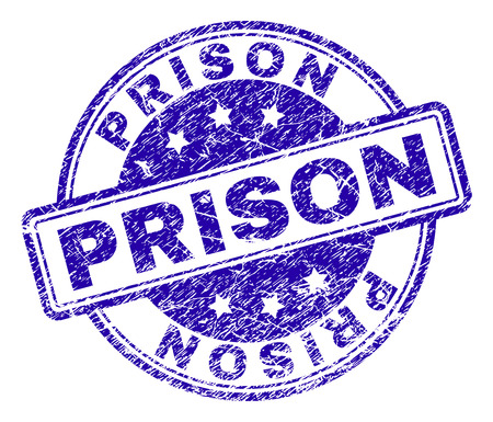 PRISON stamp seal imprint with grunge texture. Designed with rounded rectangles and circles. Blue vector rubber print of PRISON label with grunge texture.