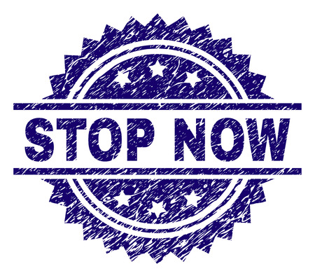 STOP NOW stamp seal watermark with distress style. Blue vector rubber print of STOP NOW title with retro texture.