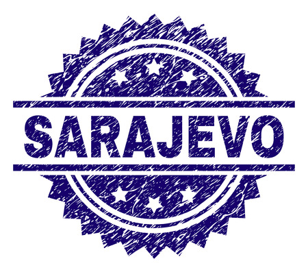 SARAJEVO stamp seal watermark with distress style. Blue vector rubber print of SARAJEVO label with grunge texture. Illustration