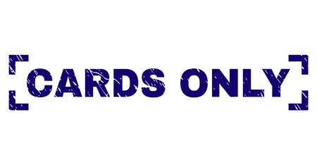 CARDS ONLY text seal imprint with grunge texture. Text label is placed inside corners. Blue vector rubber print of CARDS ONLY with grunge texture.