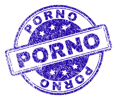 PORNO stamp seal imprint with grunge texture. Designed with rounded rectangles and circles. Blue vector rubber print of PORNO text with retro texture.