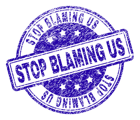 STOP BLAMING US stamp seal watermark with grunge texture. Designed with rounded rectangles and circles. Blue vector rubber print of STOP BLAMING US tag with dust texture.