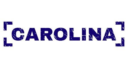CAROLINA label seal watermark with corroded texture. Text label is placed between corners. Blue vector rubber print of CAROLINA with retro texture. Illustration