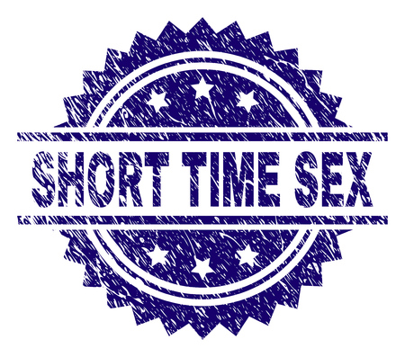 SHORT TIME SEX stamp seal watermark with distress style. Blue vector rubber print of SHORT TIME SEX caption with unclean texture. Ilustração