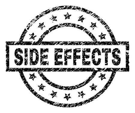 SIDE EFFECTS stamp seal watermark with distress style. Designed with rectangle, circles and stars. Black vector rubber print of SIDE EFFECTS label with retro texture.