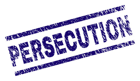 PERSECUTION seal print with scratced style. Blue vector rubber print of PERSECUTION text with scratched texture. Text caption is placed between parallel lines.