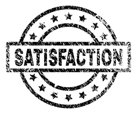 SATISFACTION stamp seal watermark with distress style. Designed with rectangle, circles and stars. Black vector rubber print of SATISFACTION caption with dust texture.