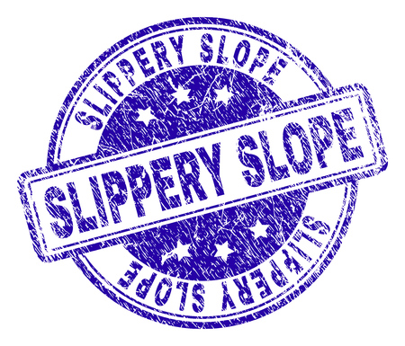 SLIPPERY SLOPE stamp seal imprint with distress texture. Designed with rounded rectangles and circles. Blue vector rubber print of SLIPPERY SLOPE caption with retro texture.