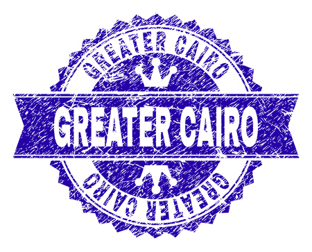 GREATER CAIRO rosette stamp watermark with grunge effect. Designed with round rosette, ribbon and small crowns. Blue vector rubber watermark of GREATER CAIRO tag with corroded style.