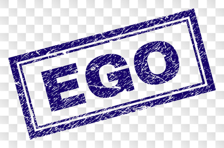 EGO stamp seal watermark with rubber print style and double framed rectangle shape. Stamp is placed on a transparent background. Blue vector rubber print of EGO label with unclean texture.