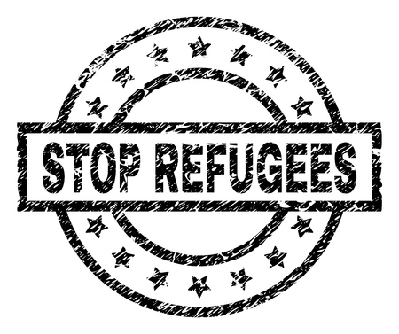 STOP REFUGEES stamp seal watermark with distress style. Designed with rectangle, circles and stars. Black vector rubber print of STOP REFUGEES tag with dust texture.