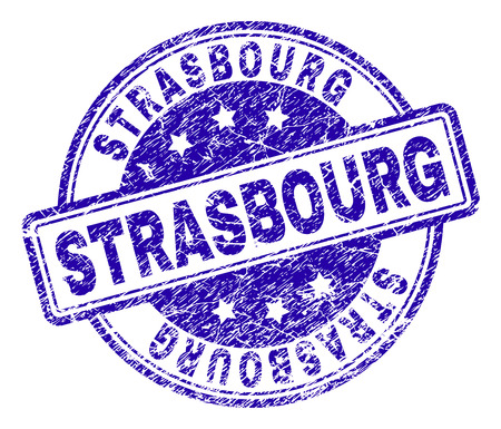 STRASBOURG stamp seal watermark with distress texture. Designed with rounded rectangles and circles. Blue vector rubber print of STRASBOURG text with retro texture. Illustration