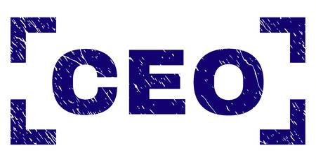 CEO text seal print with grunge effect. Text caption is placed inside corners. Blue vector rubber print of CEO with grunge texture.
