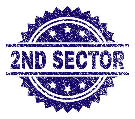 2ND SECTOR stamp seal watermark with distress style. Blue vector rubber print of 2ND SECTOR text with retro texture.