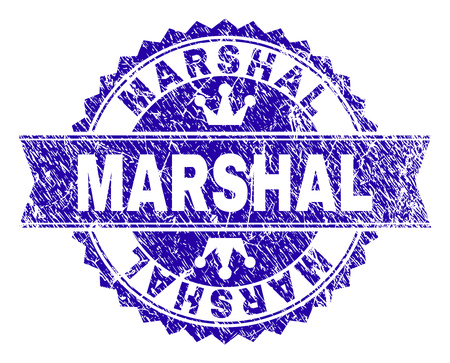 MARSHAL rosette stamp imprint with grunge style. Designed with round rosette, ribbon and small crowns. Blue vector rubber print of MARSHAL caption with grunge style.