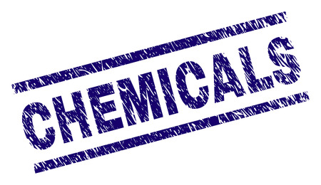 CHEMICALS seal print with scratced style. Blue vector rubber print of CHEMICALS text with scratched texture. Text label is placed between parallel lines. Illustration