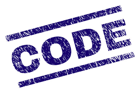 CODE seal print with distress style. Blue vector rubber print of CODE text with grunge texture. Text caption is placed between parallel lines. Illusztráció