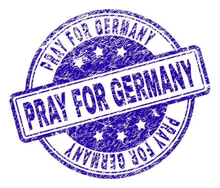 PRAY FOR GERMANY stamp seal imprint with grunge texture. Designed with rounded rectangles and circles. Blue vector rubber print of PRAY FOR GERMANY title with grunge texture. Illustration