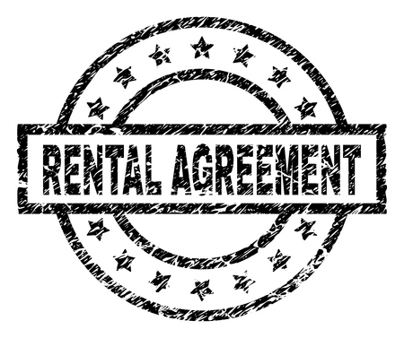 RENTAL AGREEMENT stamp seal watermark with distress style. Designed with rectangle, circles and stars. Black vector rubber print of RENTAL AGREEMENT text with scratched texture.