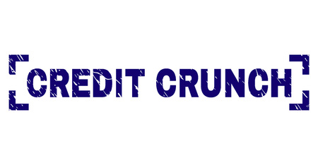 CREDIT CRUNCH text seal watermark with corroded texture. Text caption is placed between corners. Blue vector rubber print of CREDIT CRUNCH with grunge texture.